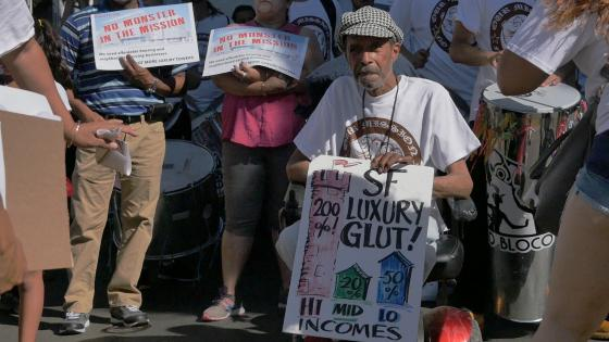 Alfonso Texidor at rally against market rate housing in the Mission District, San Francisco