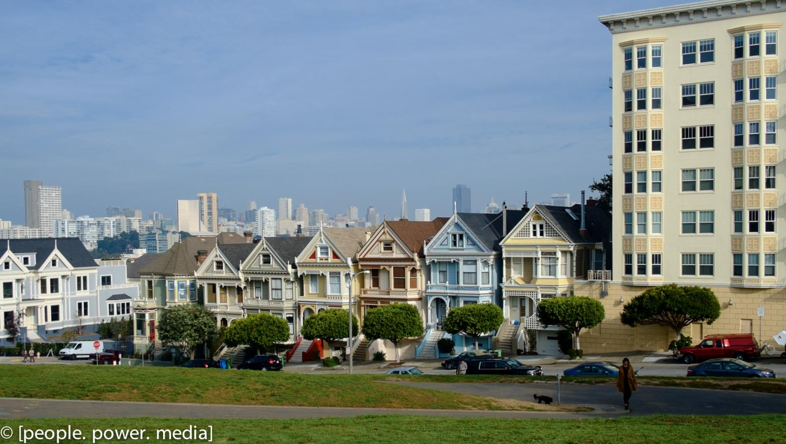 Apartment building beside Painted Ladies houses