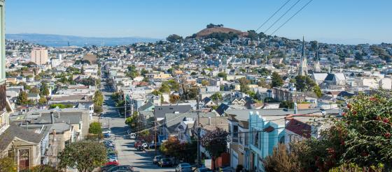 View of Bernal Hill from Noe Valley, San Francisco