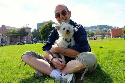 Ted Gullicksen with his dog Falcor, San Francisco