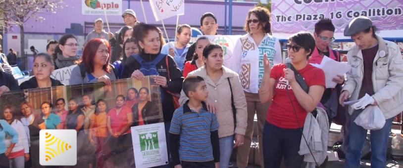 Maria Zamudio and other community members speak at BART Plaza