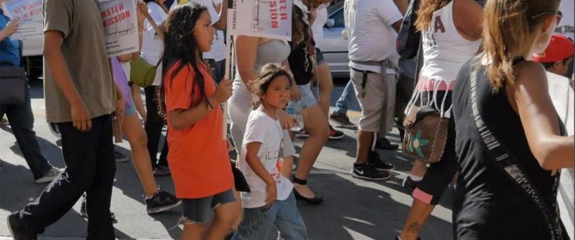 Families marching in Mission District protest