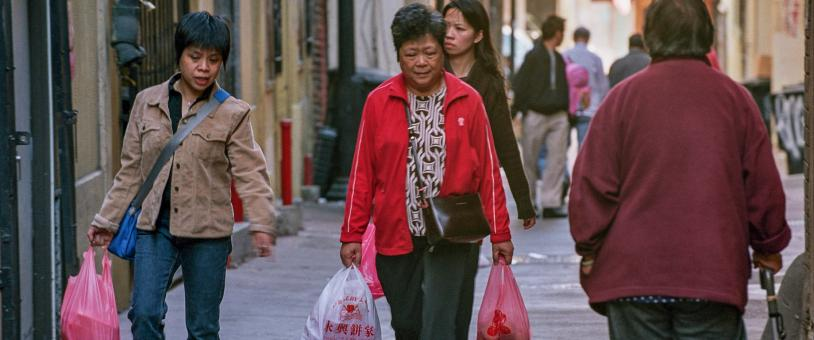 Women walking in Chinatown