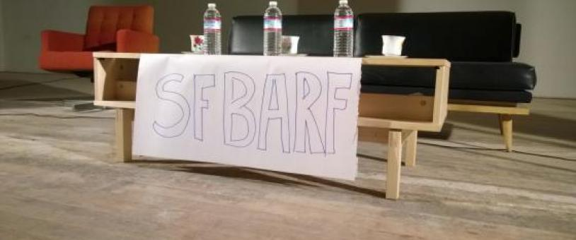 SF BARF sign in front of panelists
