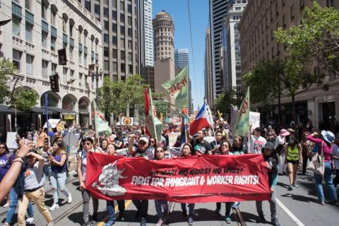 May Day protest on Market Street, San Francisco