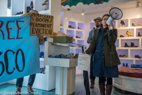 Organizations across San Francisco occupy shoe store of alleged serial evictor.