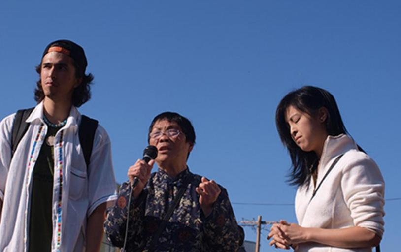 Gum Gee Lee and Chinatown organizers at press conference