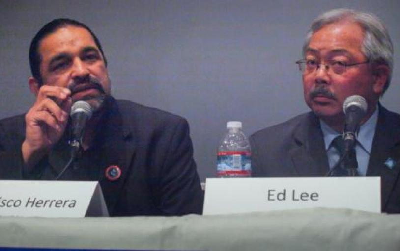 Francisco Herrera beside incumbent candidate Mayor Ed Lee